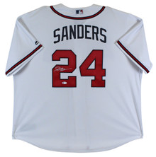 Braves Deion Sanders Authentic Signed White Majestic Coolbase Jersey BAS Witness