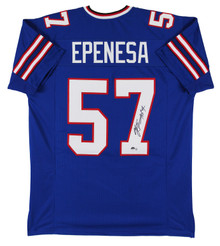 A.J. Epenesa Authentic Signed Blue Pro Style Jersey Autographed BAS Witnessed
