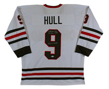 "Bobby Hull ""HOF 1983"" Authentic Signed White Pro Style Jersey Autographed BAS"