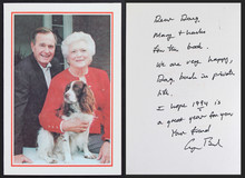 George H.W. Bush Authentic Signed Holiday Greeting Card Autographed BAS #A57636