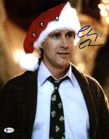 Chevy Chase Christmas Vacation Signed 11x14 Photo Wearing Santa Hat BAS Wit 20