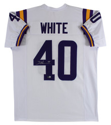 LSU Devin White Authentic Signed White Pro Style Jersey Autographed BAS Witness