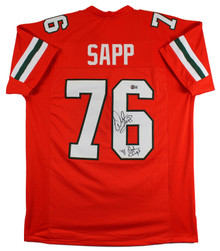 Miami Warren Sapp 1991 Ntnl Champs Signed Orange Pro Style Jersey BAS Witnessed