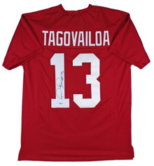 Alabama Tua Tagovailoa Authentic Signed Crimson Pro Style Jersey BAS