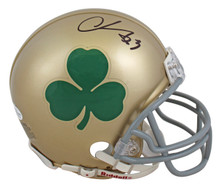 Notre Dame Chase Claypool Authentic Signed Shamrock Rep Mini Helmet BAS Witness