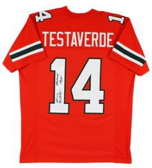 Miami Vinny Testaverde Heisman 1986 Authentic Signed Orange Pro Style Jersey JSA