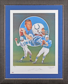 Colts Johnny Unitas Authentic Signed & Framed 18x24 Lithograph LE #12/500 BAS