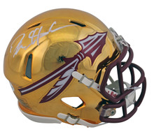Florida State Deion Sanders Authentic Signed Chrome Mini Helmet BAS Witnessed