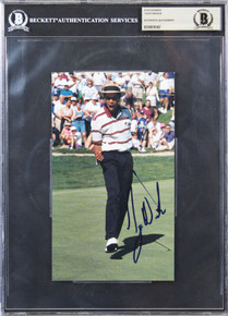 Tiger Woods Authentic Signed 4.65x8 Photo Auto Graded 10! Autographed BAS Slab