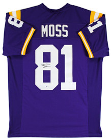 LSU Thaddeus Moss Authentic Signed Purple Pro Style Jersey BAS Witnessed
