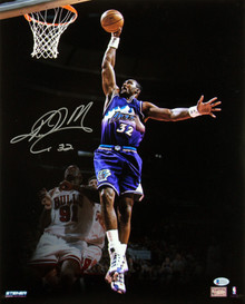Jazz Karl Malone Authentic Signed 16x20 Photo Autographed BAS Witnessed #J27414