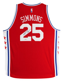 76ers Ben Simmons Authentic Signed Red Adidas Swingman Jersey UDA #BAM55872