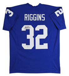 Kansas John Riggins Authentic Signed Blue Pro Style Jersey BAS Witnessed