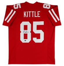 49ers George Kittle Authentic Signed Red Jersey Autographed BAS Witnessed