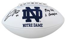 "Notre Dame Cole Kmet ""PLAC"" Signed White Panel Logo Football Autographed BAS Wit"