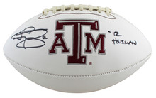 "Texas A&M Johnny Manziel ""'12 Heisman"" Signed White Panel Logo Football BAS Wit"