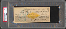 Benjamin Harrison Authentic Signed 2.9x6.9 1900 Check Auto Graded 9! PSA Slabbed