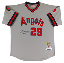"Angels Rod Carew ""HOF 91"" Signed Grey Mitchell & Ness CC Jersey BAS #AA48358"