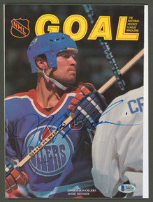Oilers Mark Messier Authentic Signed Goal Magazine Autographed BAS #Z99332