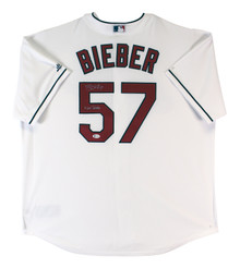 """Indians Shane Bieber """"Not Justin"""" Signed White Majestic Cool Base Jersey BAS Wit"""