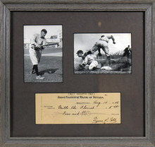 Tigers Ty Cobb Authentic Signed & Framed 3x8 1946 Check Autographed BAS #A40663