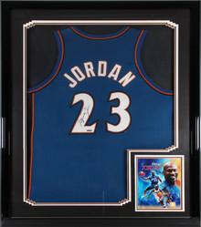 Wizards Michael Jordan Authentic Signed Blue Away Framed Jersey UDA #BAH88687