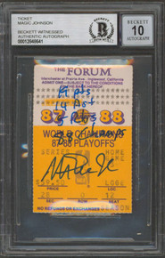"""Lakers Magic Johnson """"Stat"""" Signed 1988 Finals Ticket Stub Auto 10! BAS Slabbed"""