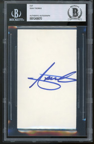 Pistons Isiah Thomas Authentic Signed 3x5 Cut Signature Autographed BAS Slabbed