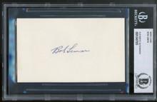Indians Bob Lemon Authentic Signed 3x5 Index Card Autographed BAS Slabbed