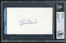 Red Sox Bobby Doerr Authentic Signed 3x5 Index Card Autographed BAS Slabbed