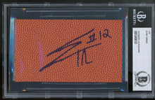 76ers Evan Turner Authentic Signed 3x5 Basketball Cut Signature BAS Slabbed