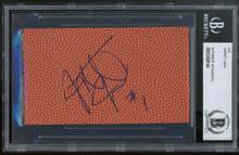 Georgia Tech Jarrett Jack Authentic Signed 3x5 Basketball Cut Signature BAS Slab