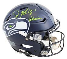 "Seahawks DK Metcalf ""Wolverine"" Signed Speed Flex Full Size Helmet BAS Witness"