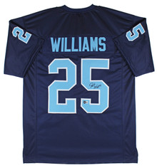 UNC Javonte Williams Signed Navy Blue Pro Style Jersey w/ Blue #s BAS Witnessed