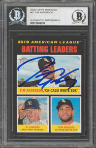 White Sox Tim Anderson Authentic Signed 2020 Topps Heritage 61 Card BAS Slabbed