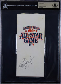 Red Sox Roger Clemens Authentic Signed 1992 All Star Game Ticket Holder BAS Slab