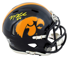 Iowa T.J. Hockenson Authentic Signed Mini Helmet Autographed BAS Witnessed