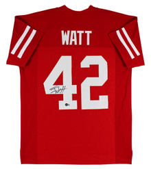 Wisconsin T.J. Watt Authentic Signed Red Pro Style Jersey BAS Witnessed