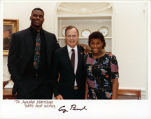 George H.W. Bush Signed 8x10 White House Photo w/ Shaquille O'Neal & Sister BAS