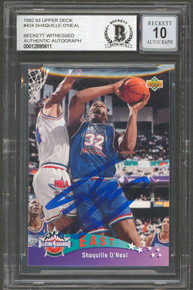Shaquille O'Neal Signed 1992 Upper Deck #424 Rookie Card Auto 10! BAS Slabbed