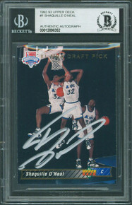 Magic Shaquille O'Neal Signed 1992 Upper Deck #1 Rookie Card BAS Slabbed