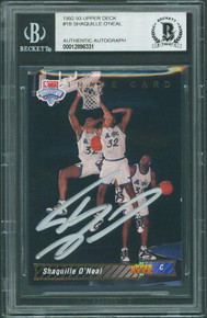 Magic Shaquille O'Neal Signed 1992 Upper Deck #1B Rookie Card BAS Slabbed