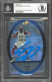 Magic Shaquille O'Neal Authentic Signed 1996 SPX #35 Card BAS Slabbed