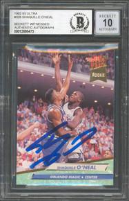 Magic Shaquille O'Neal Signed 1992 Ultra #328 Rookie Card Auto Grade 10 BAS Slab