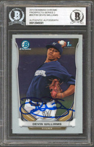 Brewers Devin Williams Signed 2014 Bowman Chrome #BCP49 Rookie Card BAS Slabbed