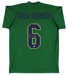 Notre Dame Jeremiah Owusu-Koramoah Signed Green Pro Style Jersey BAS Witnessed