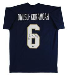 Notre Dame Jeremiah Owusu-Koramoah Signed Navy Blue Pro Style Jersey BAS Witness