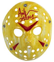 "Ari Lehman Friday The 13th ""Jason 1"" Signed Yellow Jason Mask w/ Red Sig BAS Wit"