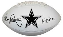 """Cowboys Tony Dorsett """"HOF 94"""" Signed White Panel Logo Football BAS Witnessed"""