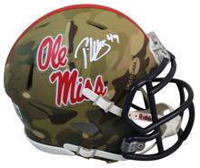 Ole Miss Patrick Willis Authentic Signed Camo Speed Mini Helmet BAS Witnessed